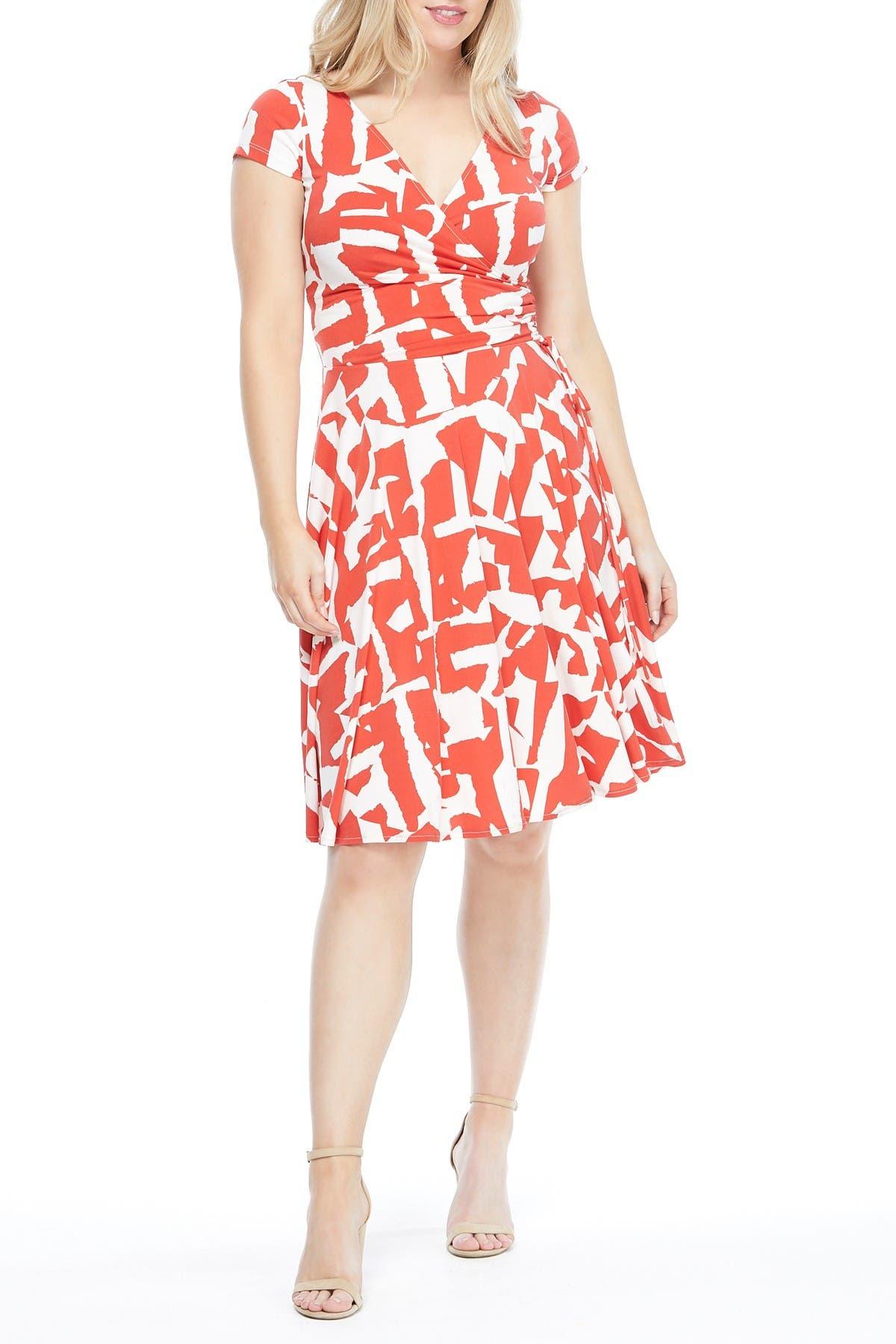 Image of Maggy London Geometric Print Surplice Neck Wrap Dress