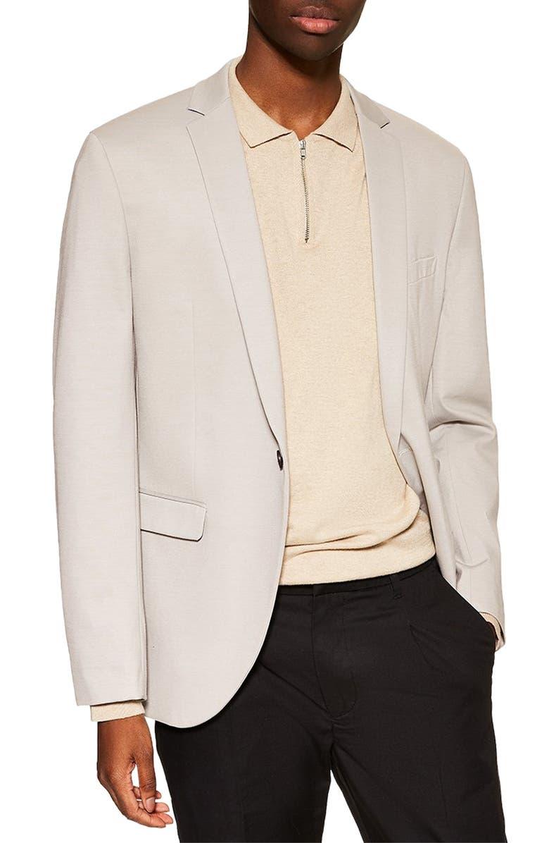 TOPMAN Skinny Fit Jersey Blazer, Main, color, 020