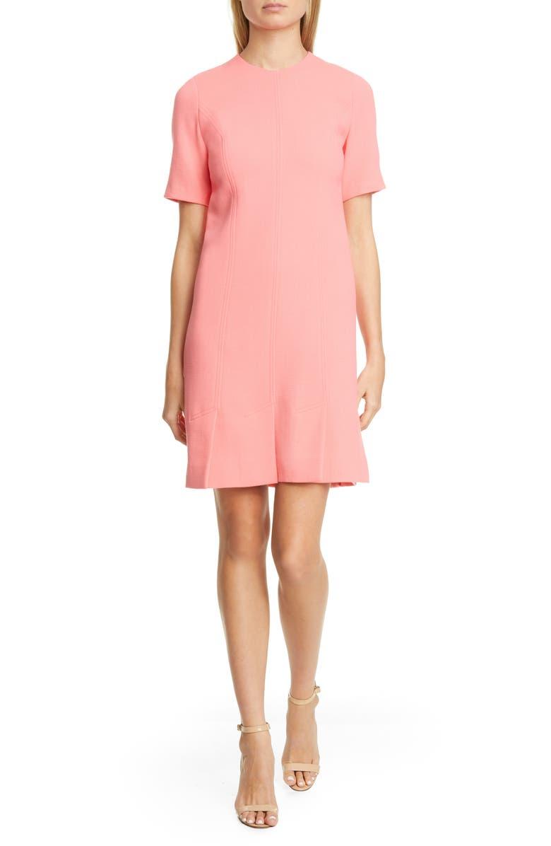 LELA ROSE Seamed Stretch Wool Blend Minidress, Main, color, PEONY