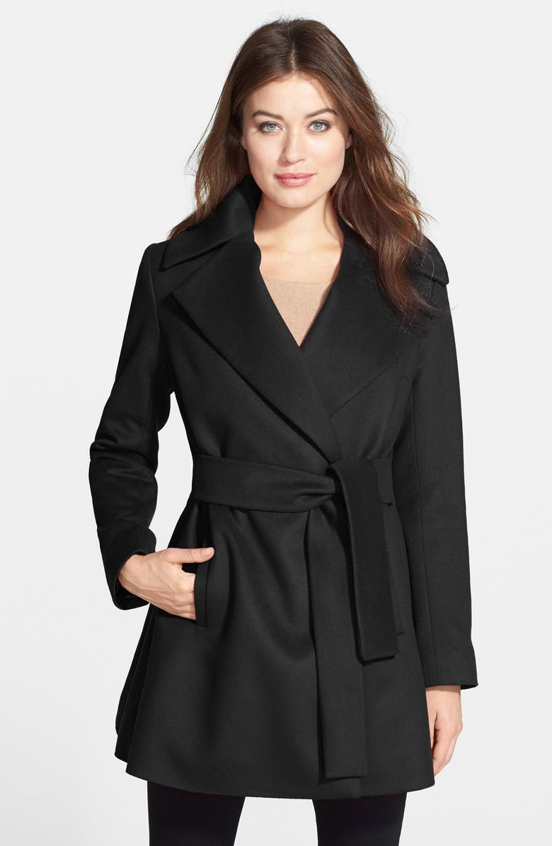 TRINA TURK 'Beverly' Wool & Cashmere Wrap Coat, Main, color, 001