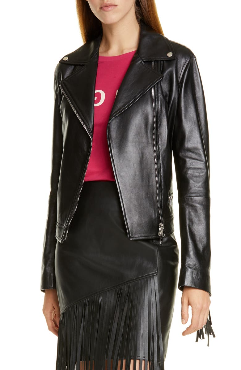 HUGO Lemira Fringe Leather Jacket, Main, color, BLACK