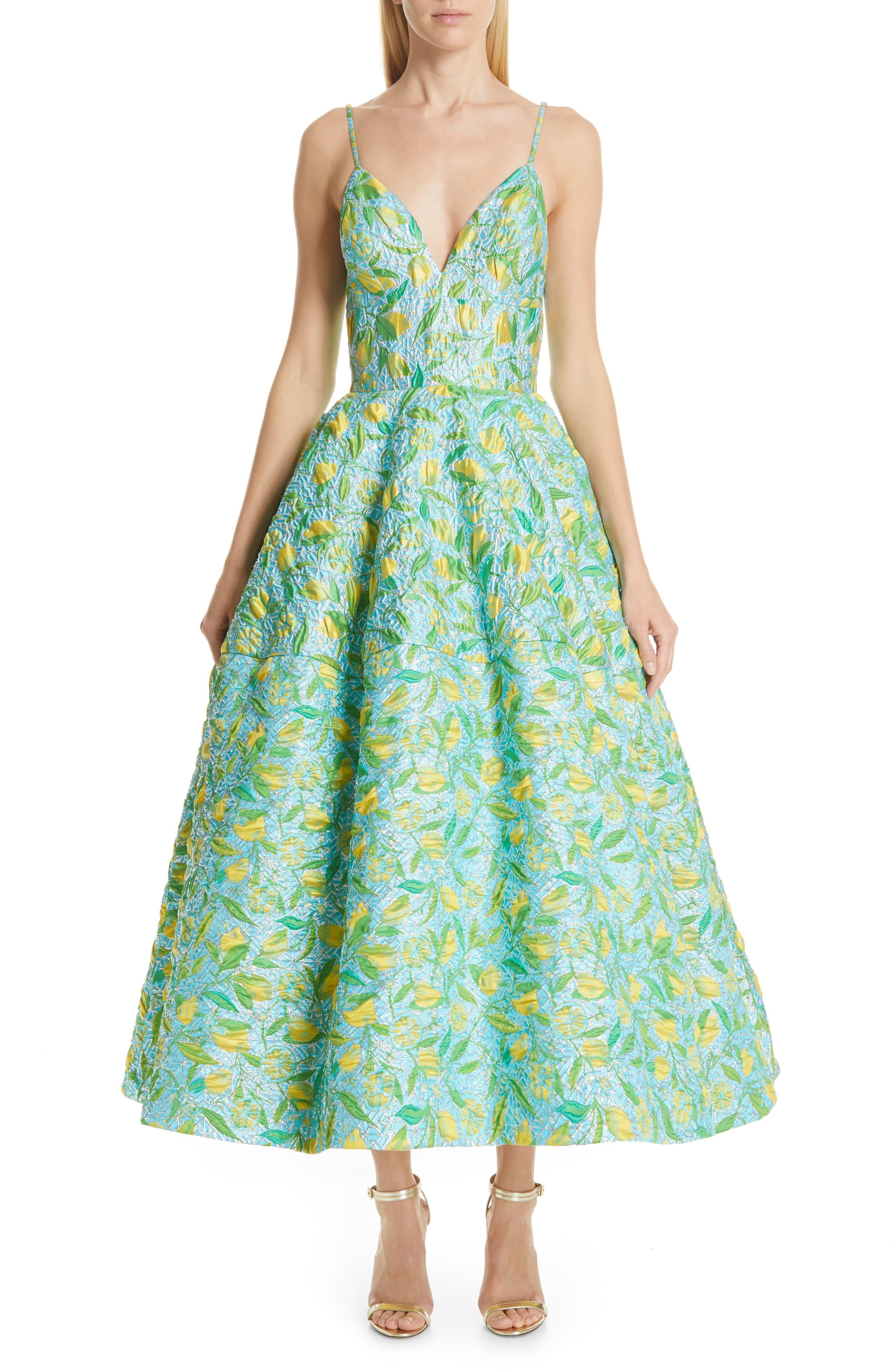 Floral Evening Dress, Main, color, LEMON BROCADE