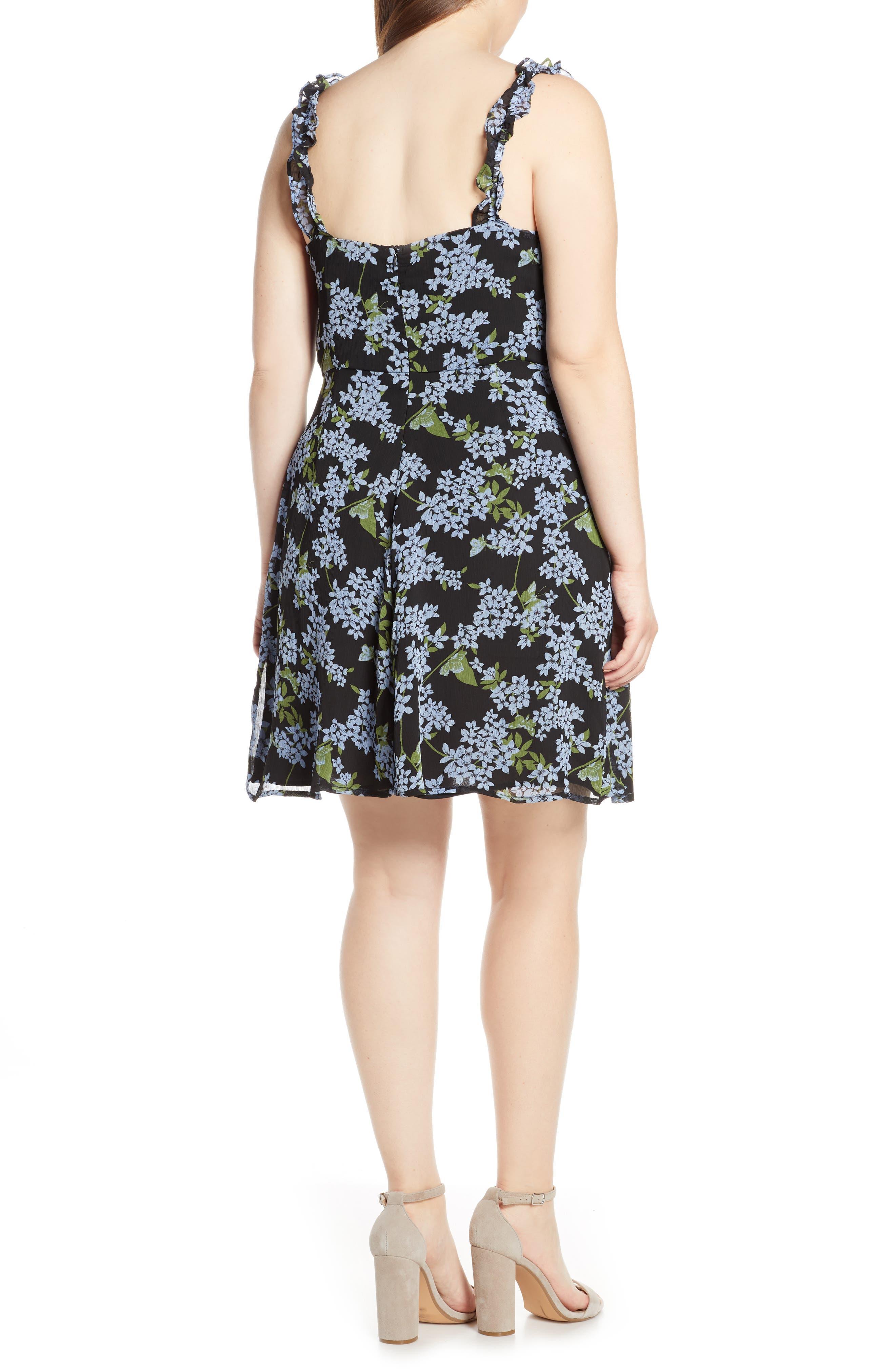 ,                             Stella Ruffle Strap Minidress,                             Alternate thumbnail 5, color,                             BLACK BLUE FLORAL