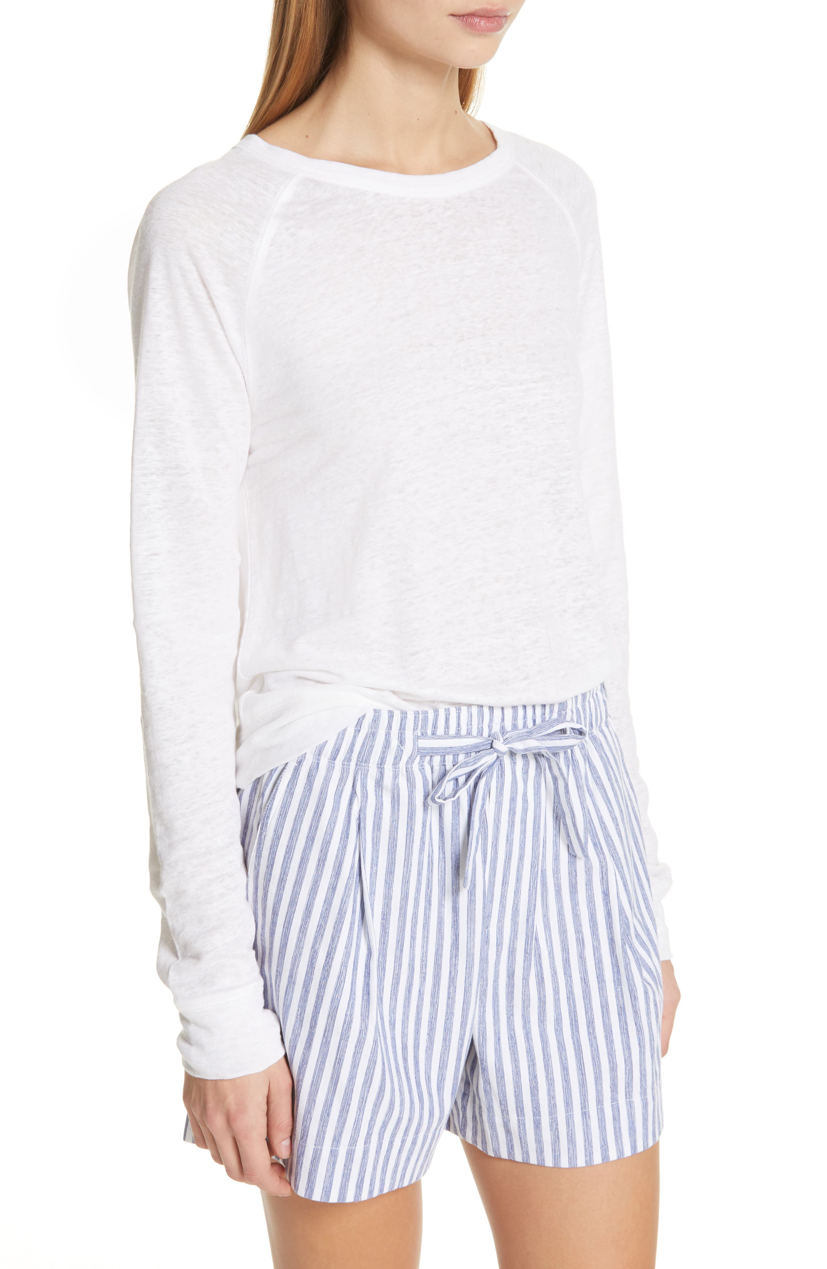 ,                             Long Sleeve Crewneck Linen Top,                             Alternate thumbnail 4, color,                             OPTIC WHITE