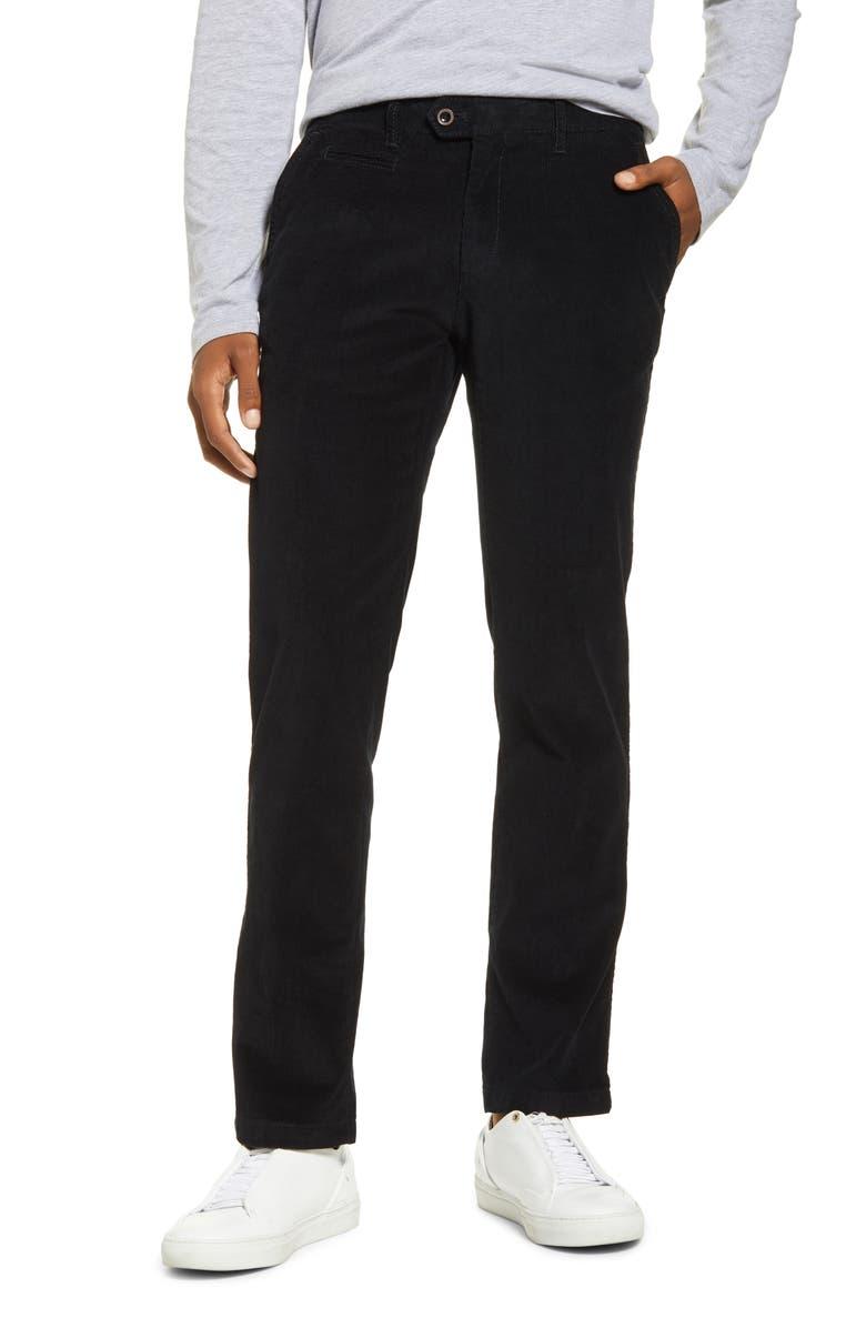 BRAX Everest Flat Front Stretch Corduroy Dress Pants, Main, color, BLACK