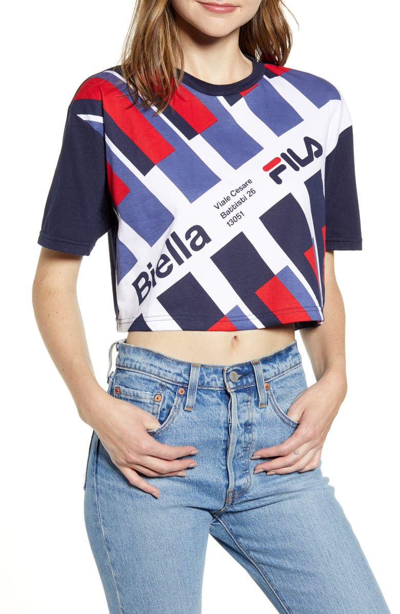 FILA Muchi Graphic Crop Top, Main, color, PEA COAT/ WHITE/ CHINESE RED