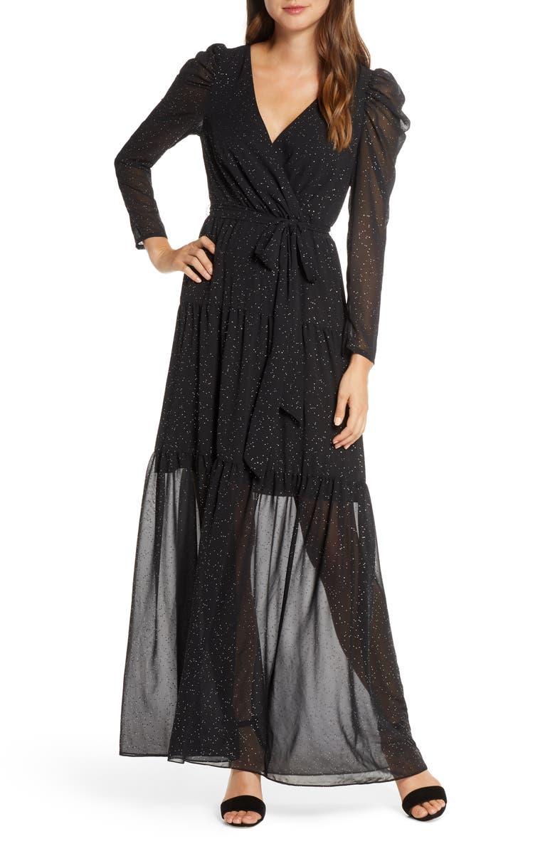 ELIZA J Long Sleeve Faux Wrap Chiffon Maxi Dress, Main, color, BLACK
