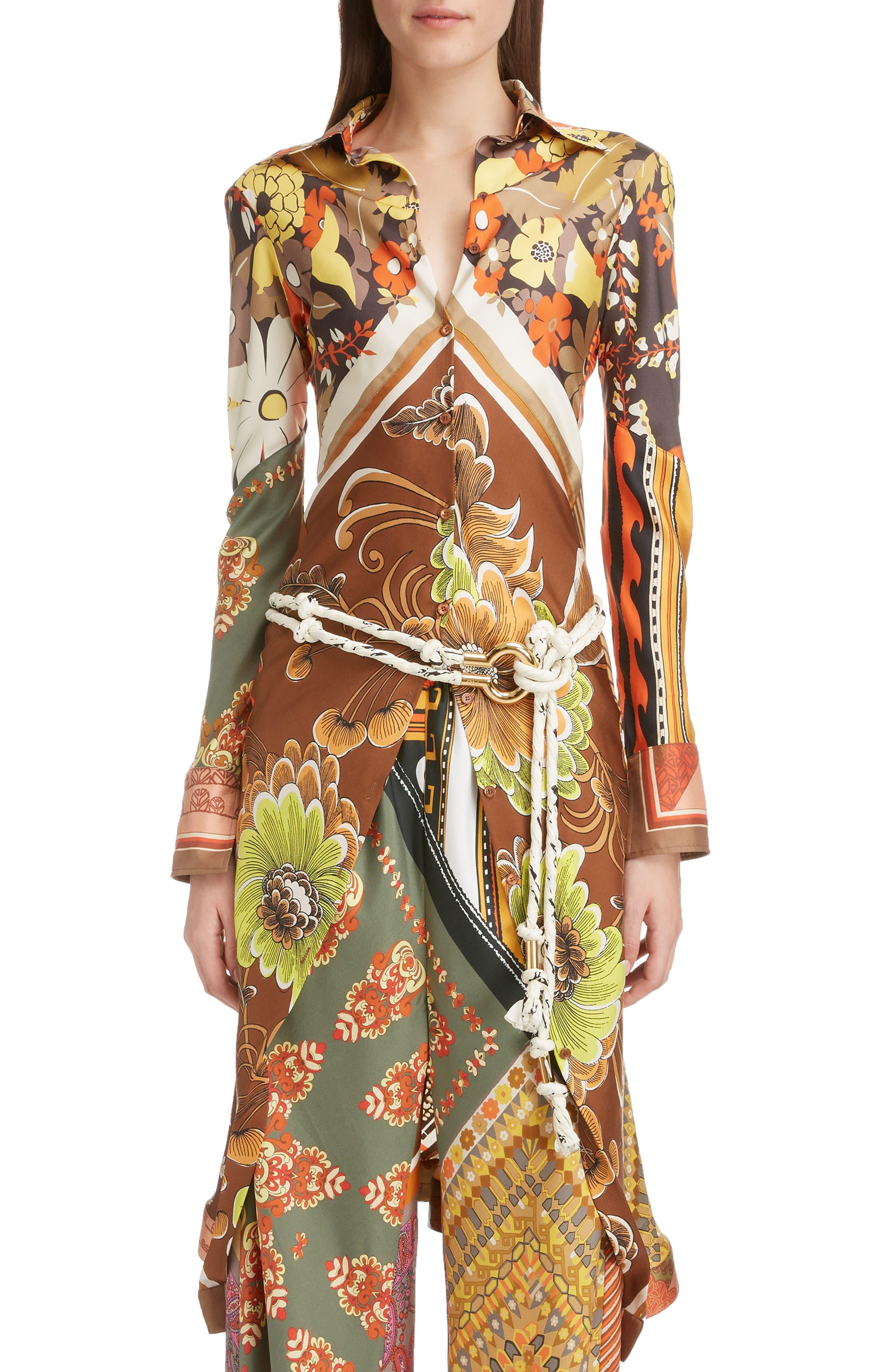 ,                             Caravan Print Silk Tunic Shirt,                             Main thumbnail 1, color,                             MULTICOLOR ORANGE