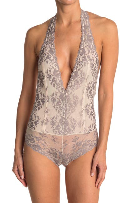 Image of Wishlist Two Tone Lace Halter Teddy