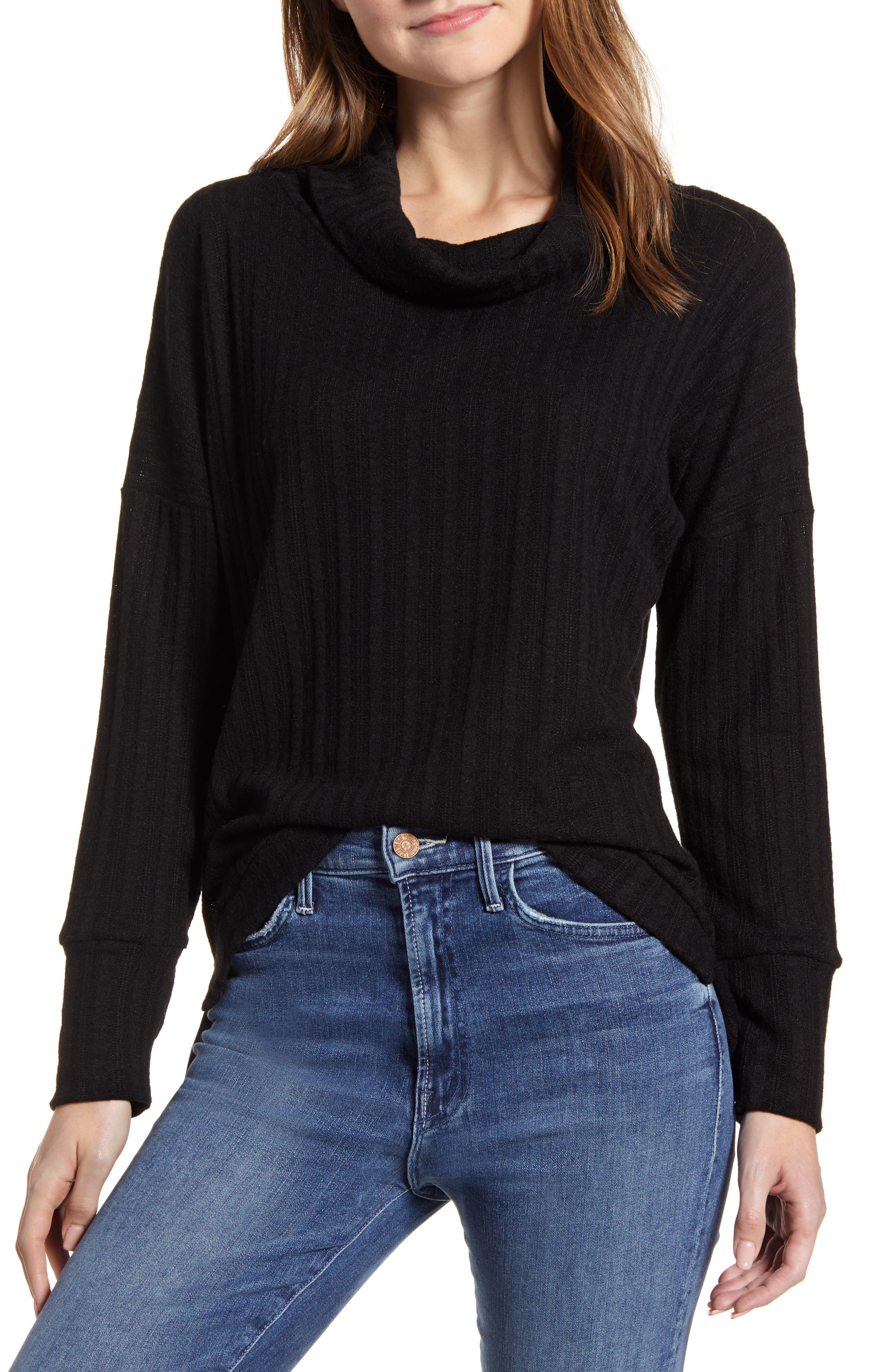 A cowl-neck top keeps things cozy with thumbhole cuffs and still makes a pretty point thanks to pointelle stitching striped throughout. Style Name: Loveapella Pointelle Ribbed Cowl Neck Top. Style Number: 5982232. Available in stores.