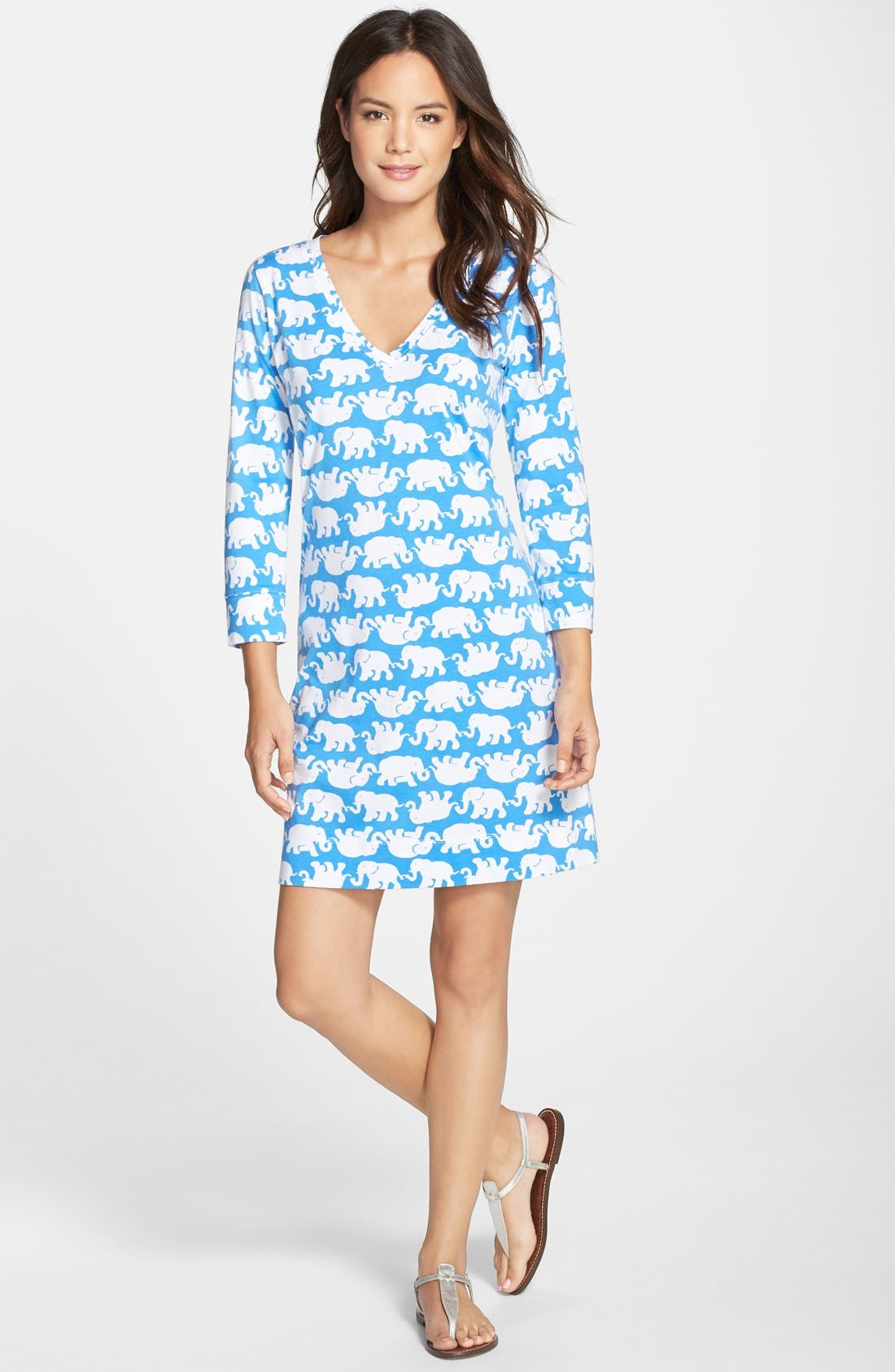 ,                             'Christie' Print T-Shirt Dress,                             Alternate thumbnail 2, color,                             421