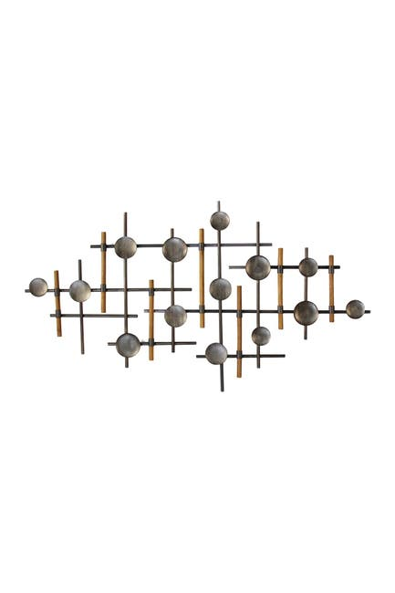 Image of Stratton Home Gunmetal & Wood Wall Sculpture