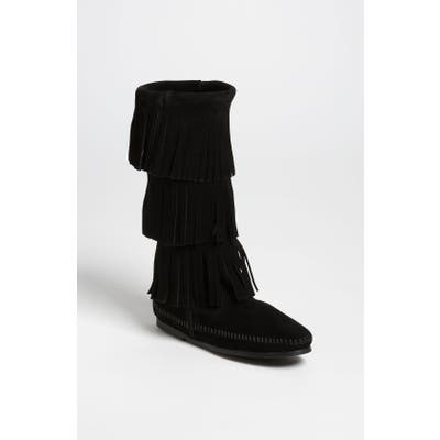 Minnetonka 3-Layer Fringe Boot, Black