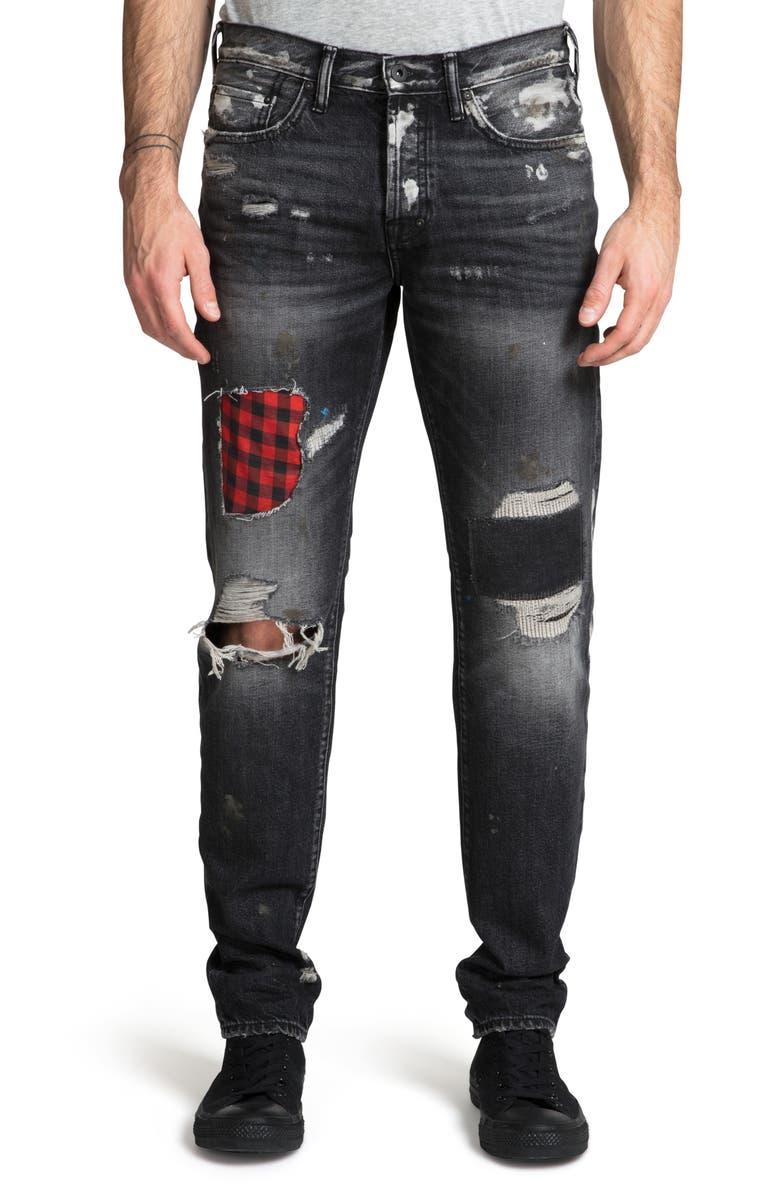 PRPS Demon Destroyed Slim Straight Leg Jeans, Main, color, 400