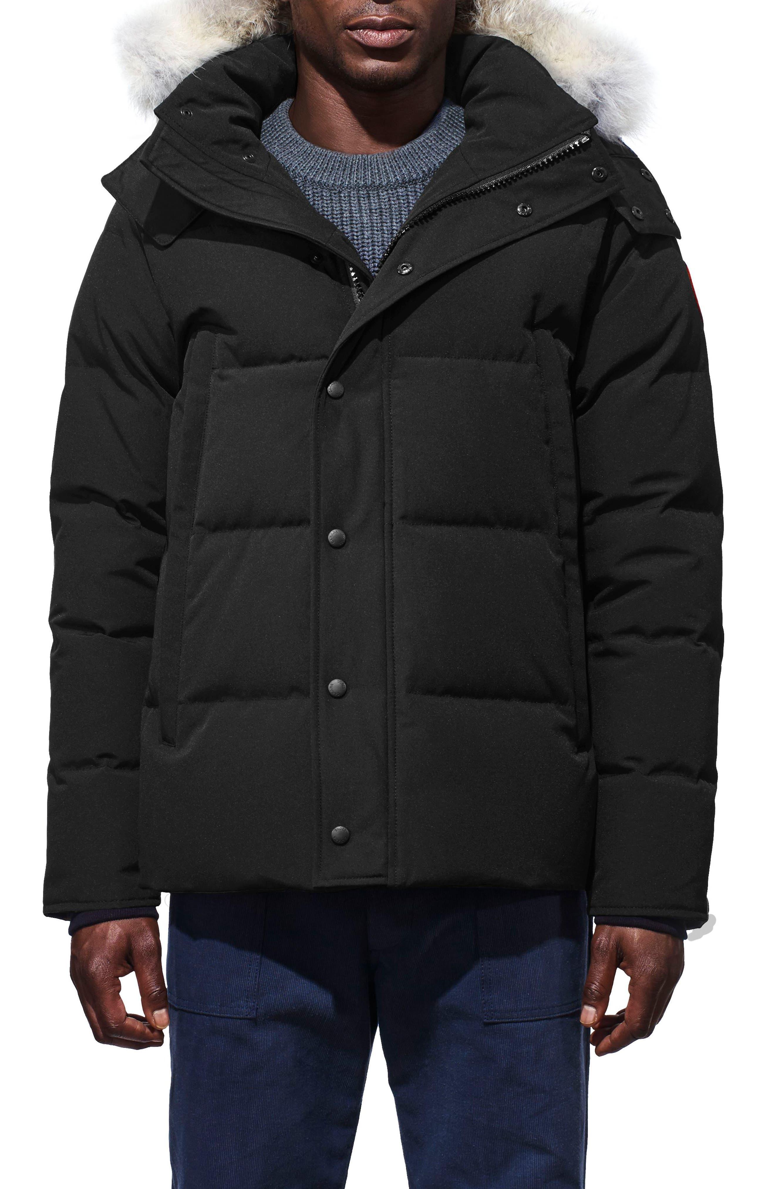 Canada Goose Wyndham Slim Fit Genuine Coyote Fur Trim Down Jacket, Black