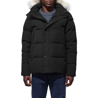 Canada Goose Wyndham Slim Fit Genuine Coyote Fur Trim Down Jacket, Black