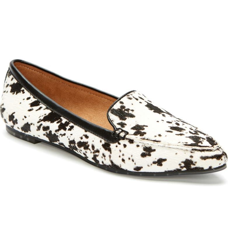 ME TOO Audra Loafer Flat, Main, color, WHITE/ BLACK CALF HAIR