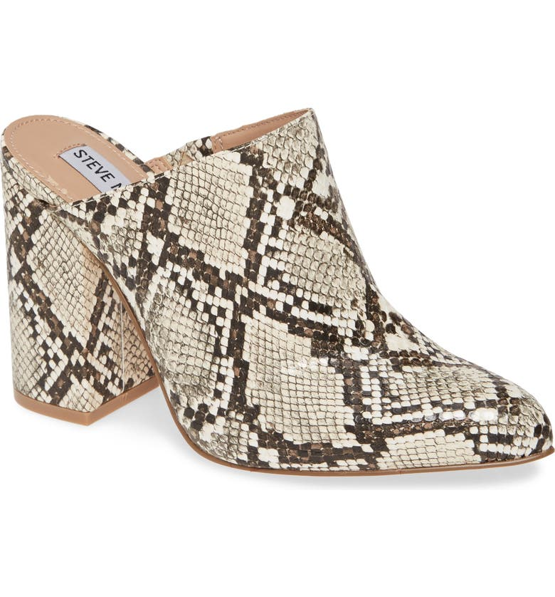STEVE MADDEN Ditty Mule, Main, color, BLACK/ WHITE SNAKE PRINT