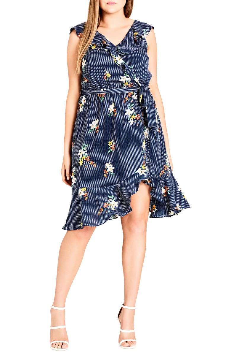CITY CHIC Spot the Floral Faux Wrap Dress, Main, color, SPOT THE FLORAL