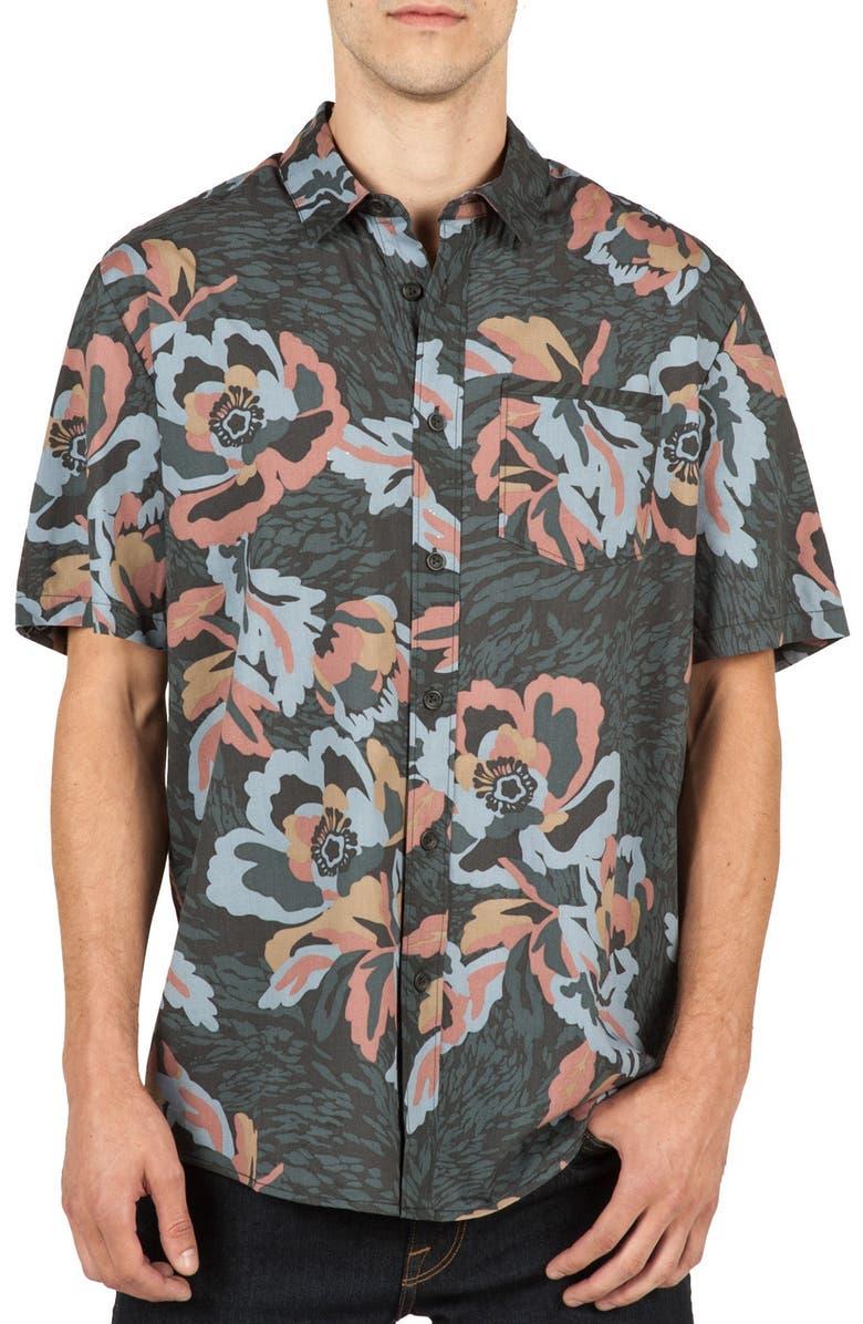 VOLCOM Cubano Cotton Blend Woven Shirt, Main, color, 011