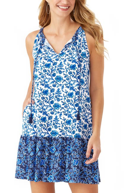 Image of Tommy Bahama Woodblock Split Neck Dress
