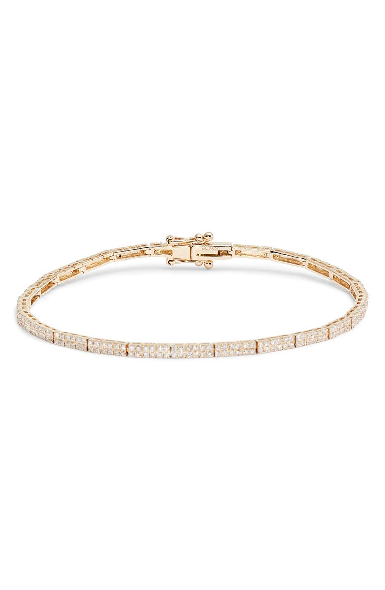 EF COLLECTION Double Row Diamond Eternity Bracelet, Main, color, YELLOW GOLD/ DIAMOND