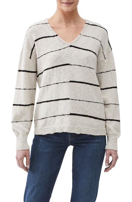 Michael Stars Tricia Striped V-neck Cotton Pullover In Oat Combo