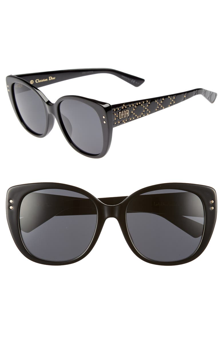 DIOR Lady Stud 58mm Polarized Rounded Special Fit Sunglasses, Main, color, 001
