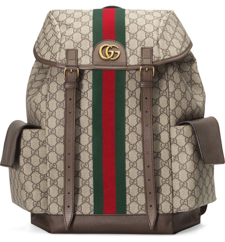 GUCCI Ophidia Medium GG Supreme Canvas Backpack, Main, color, BROWN