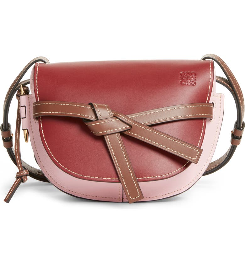 LOEWE Small Gate Leather Crossbody Bag, Main, color, WINE/ PASTEL PINK