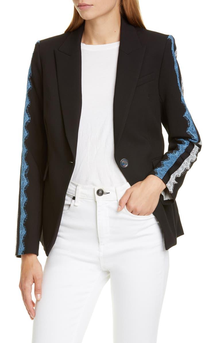VERONICA BEARD Damari Lace Sleeve Dickey Jacket, Main, color, BLACK