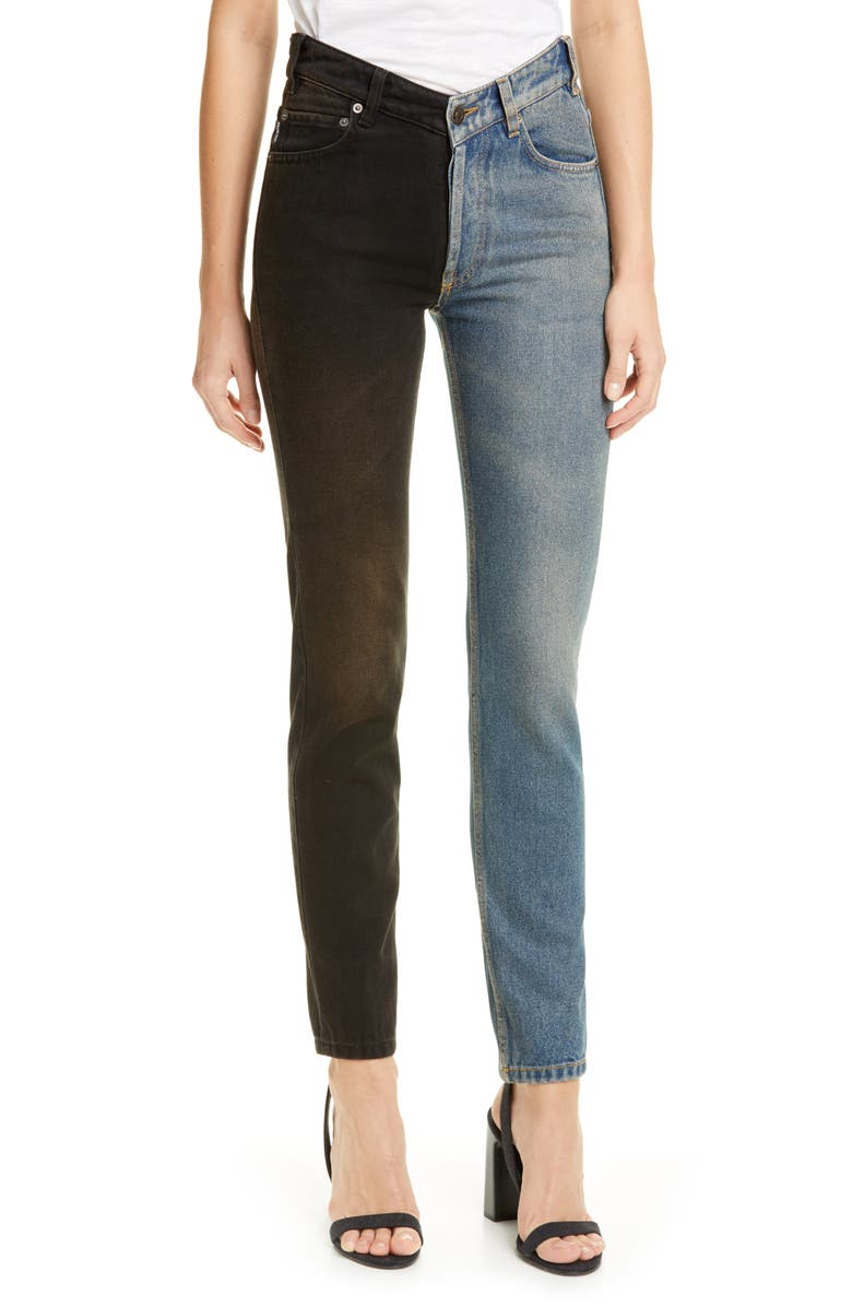 BALENCIAGA V-Neck Two-Tone Jeans, Main, color, LIGHT RUST INDIGO