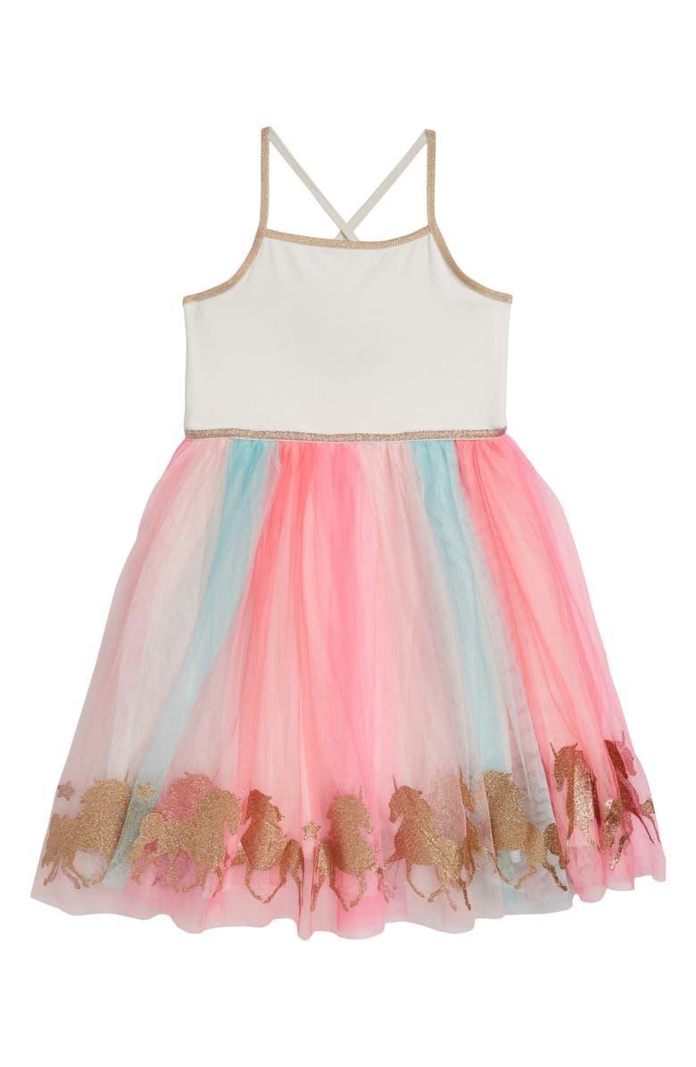 ZUNIE Rainbow Sleeveless Mesh Tutu Dress, Main, color, IVORY/ MULTI