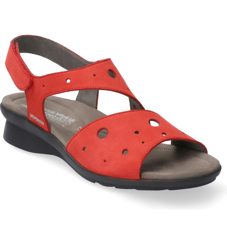 MEPHISTO Phiby Wedge Sandal, Main, color, SCARLET NUBUCK LEATHER