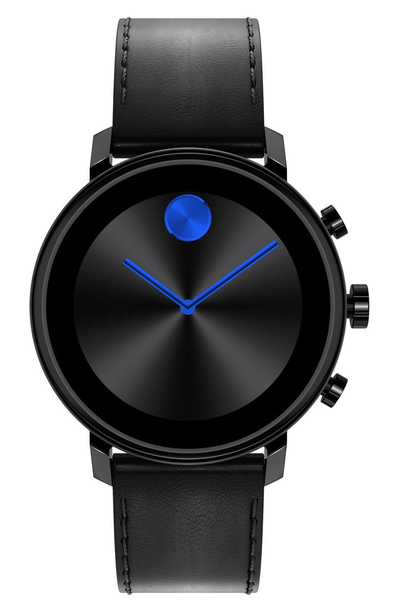 MOVADO Bold Connect 2.0 Leather Strap Smart Watch, 42mm, Main, color, BLACK