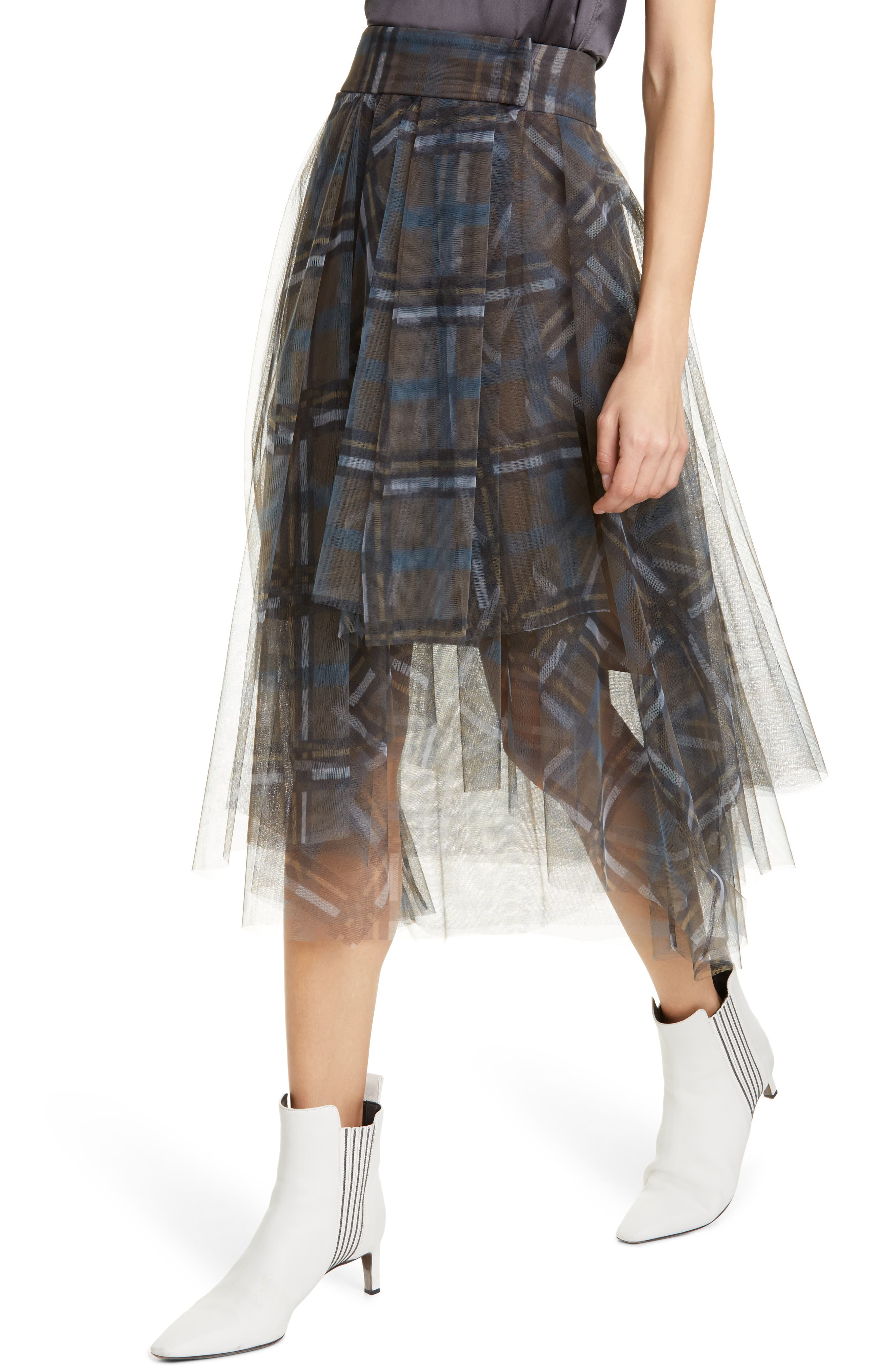 Brunello Cucinelli Skirts Check Print Tulle Midi Skirt