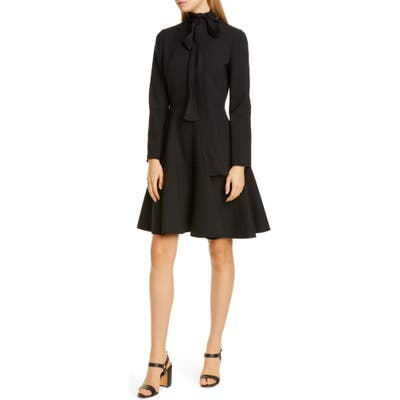 Valentino Tie Neck Long Sleeve Minidress, 8 IT - Black