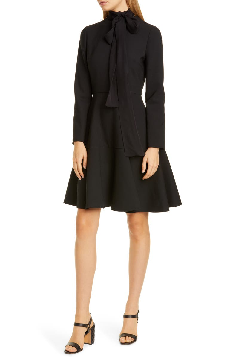 VALENTINO Tie Neck Long Sleeve Fit & Flare Dress, Main, color, 001