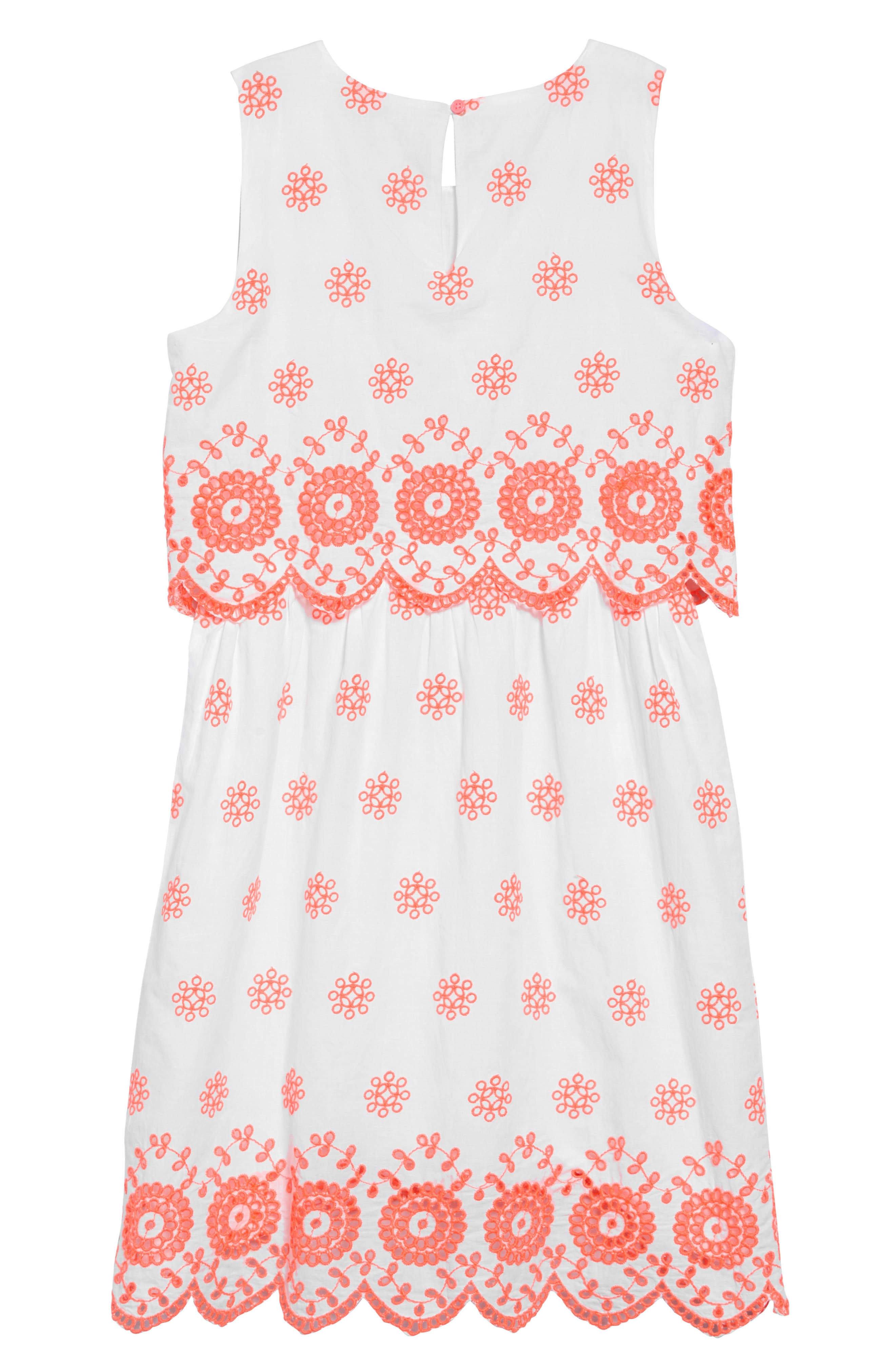 ,                             Scalloped Eyelet Sleeveless Dress,                             Alternate thumbnail 2, color,                             IVORY NEON CORAL