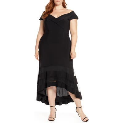 Plus Size Xscape Off The Shoulder High/low Cocktail Dress, Black