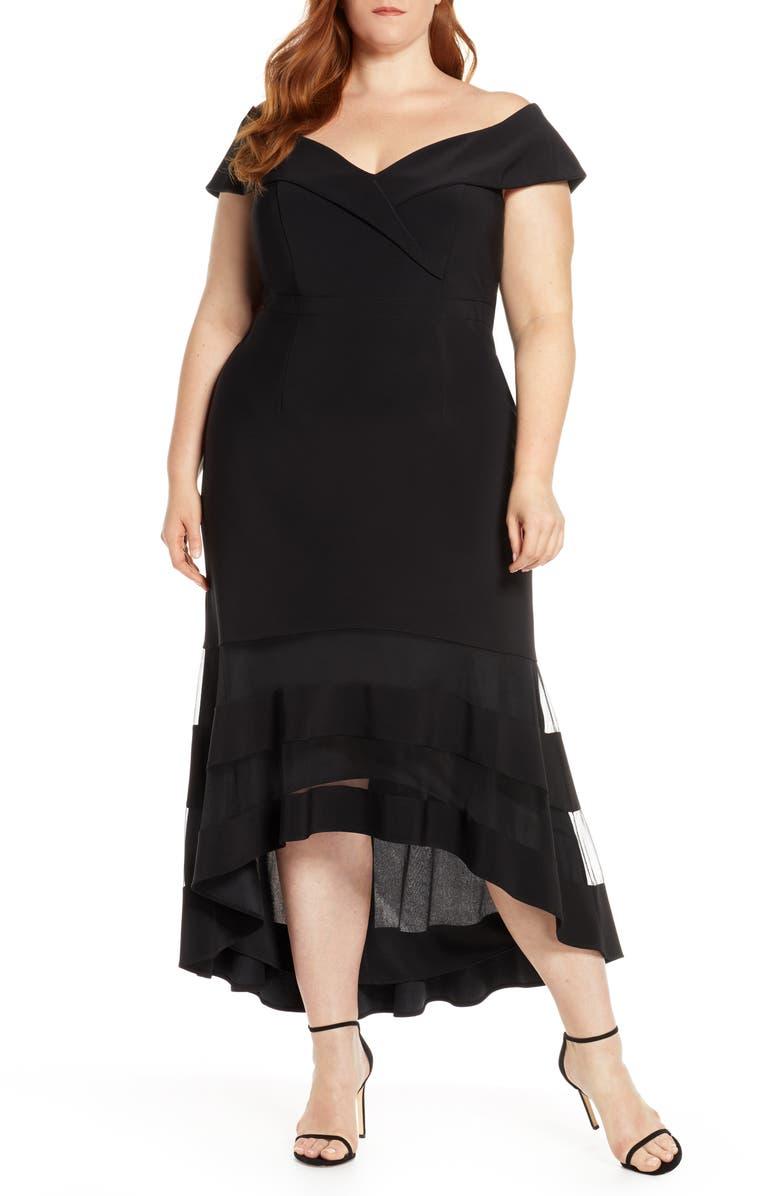 XSCAPE Off the Shoulder High/Low Cocktail Dress, Main, color, BLACK