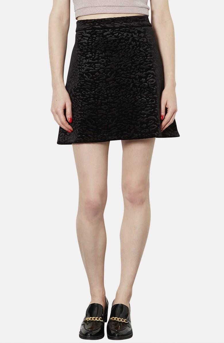 TOPSHOP Animal Pattern Velvet A-Line Skirt, Main, color, 001