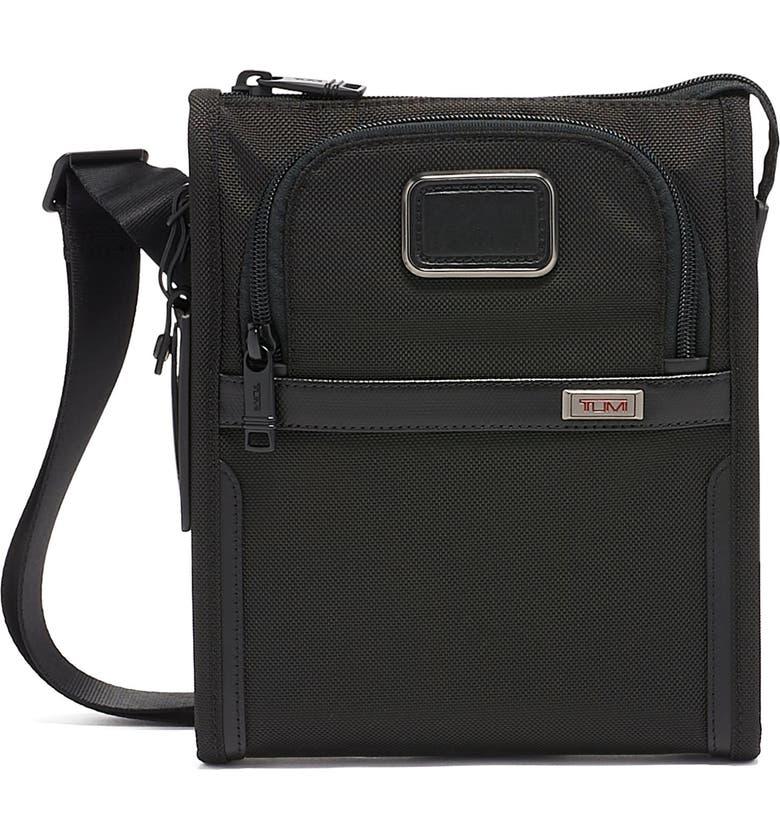 TUMI Alpha 3 Collection Small Crossbody Pocket Bag, Main, color, BLACK