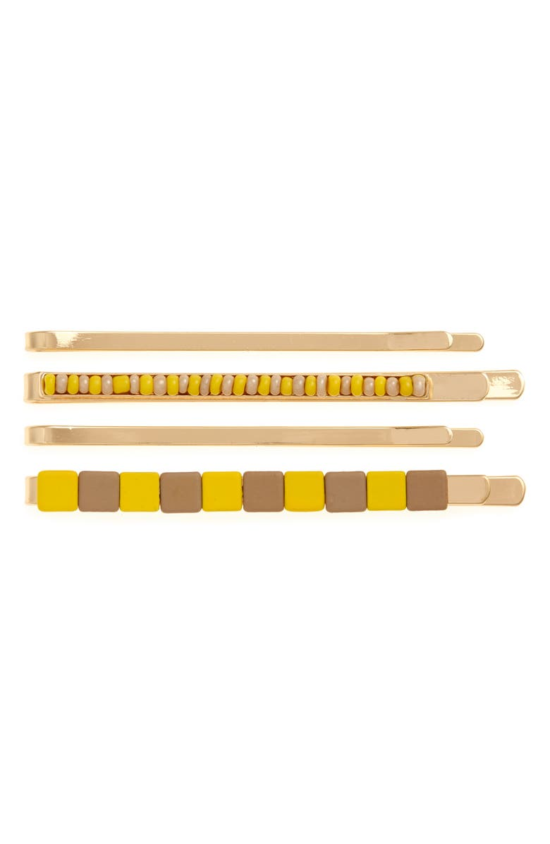 BP. 4-Pack Geo Tile Hair Clips, Main, color, YELLOW- GOLD
