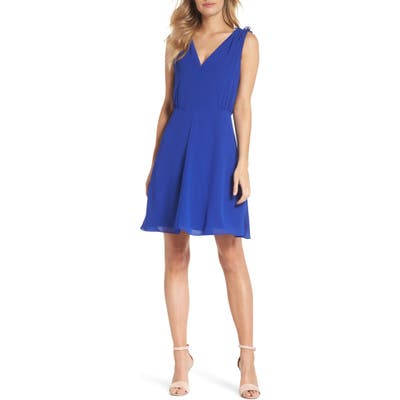 Vince Camuto Souffle V-Neck Chiffon A-Line Dress, Blue