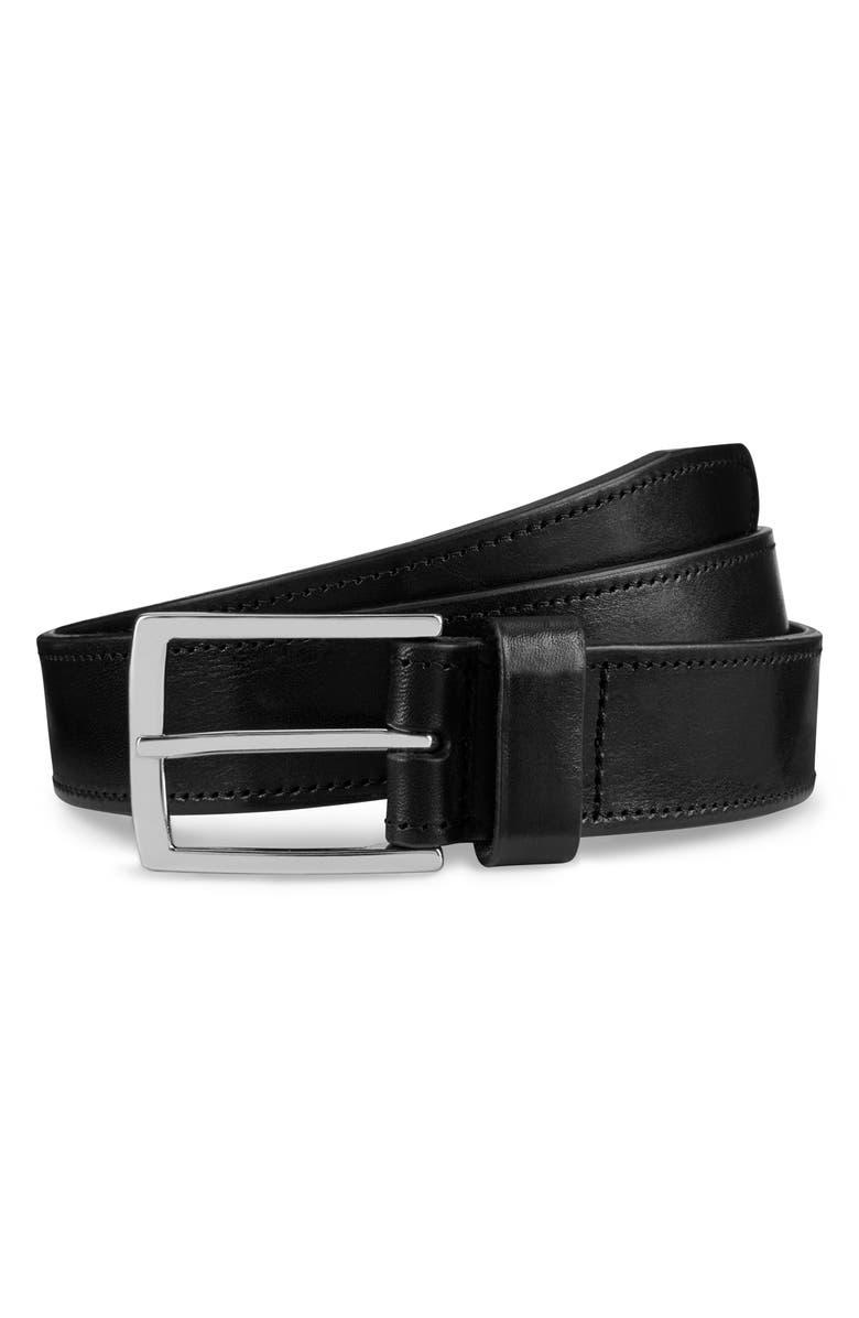 ALLEN EDMONDS Radiant Avenue Leather Belt, Main, color, BLACK