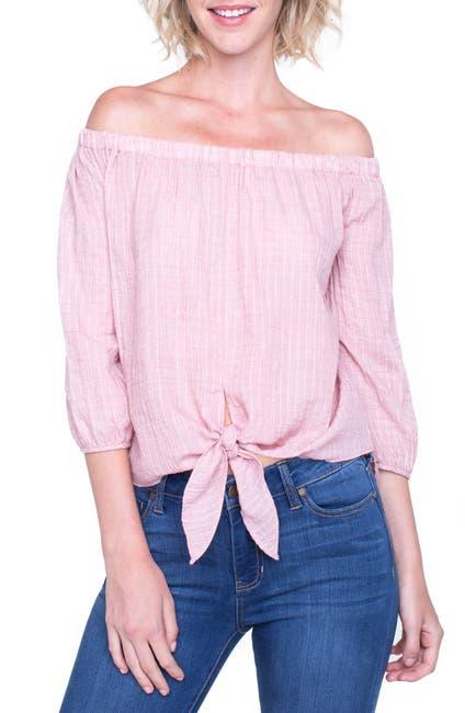 Image of Liverpool Jeans Co Off-the-Shoulder Tie Hem Top