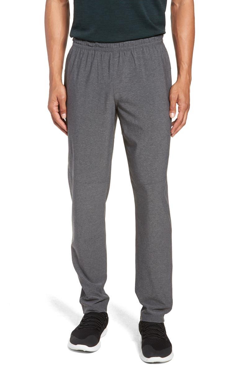 ZELLA Tapered Slim Fit Stretch Track Pants, Main, color, GREY OBSIDIAN MELANGE