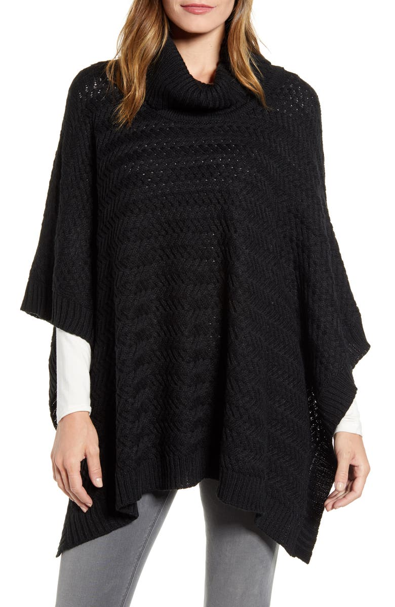 ECHO Braided Turtleneck Poncho, Main, color, 001