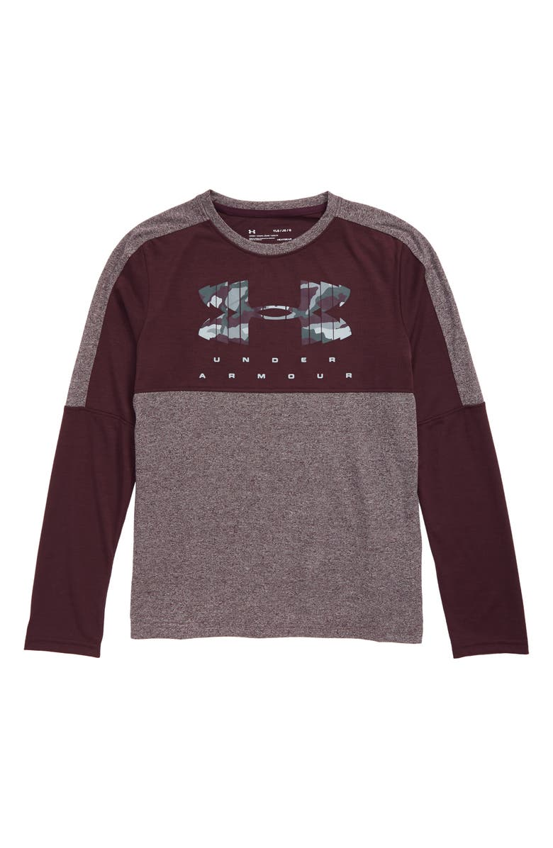 UNDER ARMOUR Relay Shirt, Main, color, KINETIC PURPLE LIGHT HEATHER